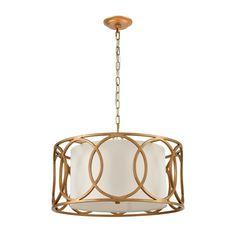 Gold Chandelier, Chandelier Lighting, Shape Coding, Commercial Lighting, Elk Lighting, Fabric Shades, Drum Shade, White Fabrics, Bulb