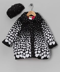 Take a look at this Black & White Gradient Heart Coat & Hat - Infant, Toddler & Girls by Penelope Mack on #zulily today!