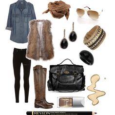 Fur and Denim, #polyvore. #fashion #style #J.Crew #HalstonHeritage