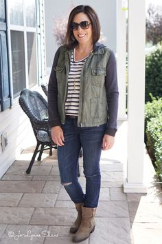 26 Days of Fall Fashion: Layered Utility Jacket + Stripes + Distressed Jeans + Mushroom Ankle Boots