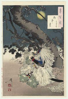 Tsukioka Yoshitoshi One Hundred Aspects of the Moon: no. Rainy moon -Kojima Takanori, woodblock print, ca. Japanese Art, Japanese, Poster Prints, Woodblocks, Japanese Drawings, Japanese Woodblock Printing, Art, Ukiyoe, Prints