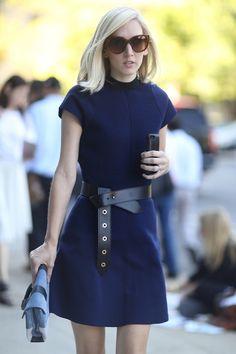 Jane Keltner de Valle in a blue dress and a bold belt.
