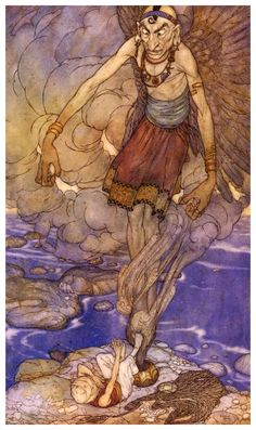 Ilustration The Arabian Night 08 - The Fisherman and the Genie - Edmund Dulac
