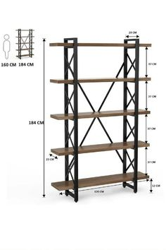 Metal Bookcase, Etagere Bookcase, Wood Shelves, Industrial Bookshelf, Open Bookcase, Modern Industrial Decor, Vintage Industrial Furniture, Industrial Style, Industrial Interiors