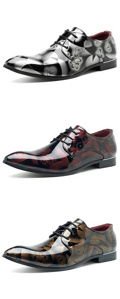 60%OFF&Free shipping. Large Size, Comfy, Leather Business Formal Shoes, Pattern Pointed Toe Shoes for Men, Color: Grey, Red, Blue, Gold. Size: 6.5-13. Shop now~