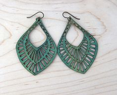 Big Mama Lasercut Leather Earrings  Green by CurareSweets on Etsy, $28.00