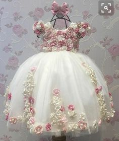 Cheap girls dress, Buy Quality little girls dresses directly from China dress for Suppliers: Flower Girl Dresses Ball Gown Pearls Flower Short Sleeve O Neck Long Wedding Pageant First Communion Dresses for Little Girls Frocks For Girls, Kids Frocks, Little Dresses, Little Girl Dresses, Cute Dresses, Girls Dresses, Flower Girl Dresses, Party Dresses, Baby Girl Fashion