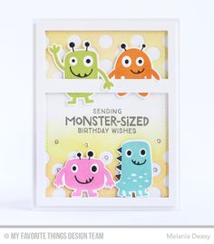 Monster Love Stamp Set and Die-namics, Essential Cover-Up Vertical Die-namics, Peek-a-Boo Polka Dots Die-namics - Melania Deasy  #mftstamps