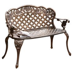 An elegant addition to your walkway or patio, this timeless bench features a lattice design and antique copper finish. Pair with an openwork garden bench for...