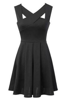 Black Fit Flare Pleated Mini Dress