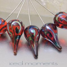 """Lampwork Glass #Headpin """"Helix"""" teardrop in transparent orange and silver glass, on sterling silver wire .Lampwork by IcedMoments, #Jewelry #Findings on #Etsy"""