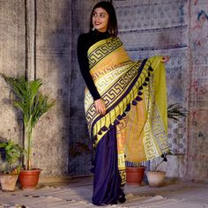 Contemporary Half and Half Cotton Sarees from RustOrange. RustOrange, an online boutique is an ode to traditional indian textiles with contemporary designs handcrafted to perfection. Traditional Blouse Designs, Traditional Outfits, Western Dresses For Girl, Dress Indian Style, Indian Wear, Ethenic Wear, Simple Sarees, Stylish Blouse Design, Kurti Designs Party Wear