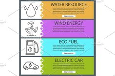Eco energy banners. Vector Graphics Eco energy banner templates set. Water resources, eco energy and fuel, electric car. Website menu it by Icons Factory