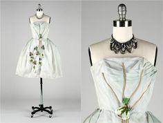 Vintage 1950s Dress  Ice Blue Organza  Tulle  by millstreetvintage, $165.00