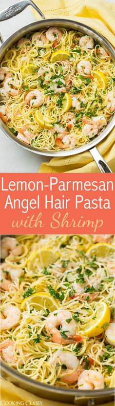 Lemon-Parmesan Angel Hair Pasta with Shrimp   Cooking Classy