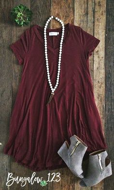B123 Luxe Bamboo V-Neck Tunic Dress - Wine