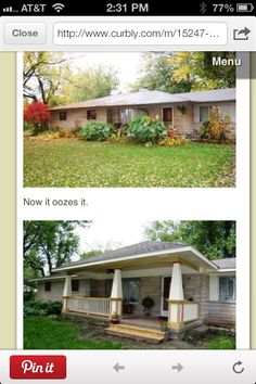 Transform your ranch-style home with a new porch! The RB Realty Team, with Keller Williams www. Ranch Exterior, Exterior Remodel, House With Porch, House Front, Front Porch Addition, Ranch House Remodel, Building A Porch, Exterior Makeover, Ranch Style Homes