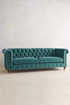 Velvet Lyre Chesterfield Sofa, Hickory - #anthroregistry