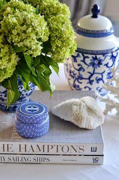 blue & white w/ hydrangeas & coral