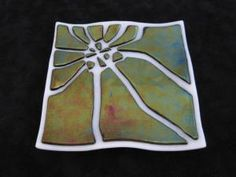 Fused Glass Plate - White and Black Iridescent Hammer Plate. by amelia