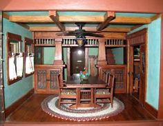 amazing Craftsman style dollhouse. what woodwork!