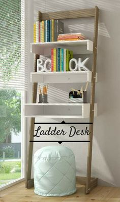 Cool and space efficient ladder desk, perfect for a kid or teen room! Ladder Desk, Ladder Bookcase, Cute Home Decor, Home Office Decor, Ikea Hack Storage, Ikea Hacks, New Condo, Kids Bedroom, Shelves