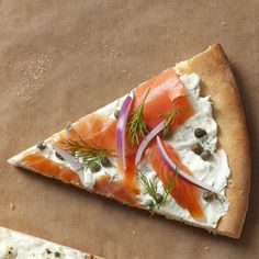 Smoked Salmon Pizza This pizza combines rich cream cheese with savory smoked salmon for a new take on pizza. The dill, red onion, and capers complete this Mediterranean dish.