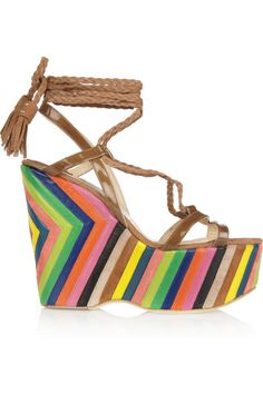 Jimmy Choo Pearl striped leather and suede platform wedges