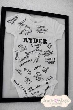 Have your Guests sign a Baby Onesie for a Keepsake...these are the BEST Baby Shower Ideas!