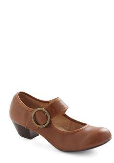 Few Steps Forward Heel in Cognac by Chelsea Crew - Tan, Solid, Vintage Inspired, 20s, 30s, Low, Leather, Work