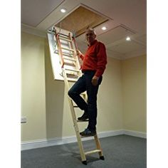 deluxe wooden loft ladder with twin handrails frame x floor to ceiling heights up to loft ladders