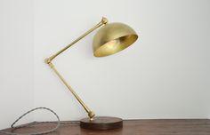 Gold Brass Wood Desk Lamp Triple Seven Home