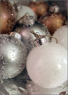 DIY Christmas ornaments sparkled white, silver, and gold