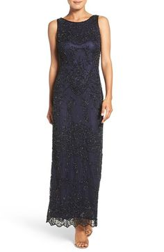 Pisarro Nights Embellished Mesh Column Gown