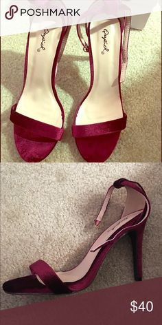 NIB Qupid ankle strap burgundy velvet heels The most beautiful red velvet shoe I could find for a holiday party, then changed my dress at the last minute so I never got to wear these. I'm normally a 7-8 but I had purchased this size on purpose because I thought the 6.5 looked better on. So I guess they run large! New in box. Quick ship! Qupid Shoes Heels