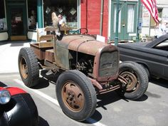 Model A doodlebug with Model B (1932) engine, doubled transmissions, all sitting on a Model A heavy truck (TT) frame.
