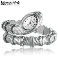 GEEKTHINK Unique Fashion Quartz Watch women Ladies Snake Shaped Bracelet Watch Bangle. Description:Beautiful, fashionable and coloful designIts band is elastic which is adjustableBand's material: SteelCase material: SteelBrand Name:GEEKTHINK      Movement:Japan QuartzCase Diameter: 3.8cmBand Length: 16-18cm(inner circle)Model Number:L9004     Clasp Type:Flexible Buckle  Net weight: 59gItem Type: Quartz WristwatchesCase Material: AlloyBrand Name: GeekthinkDial Window…