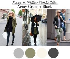 Army Green + Black Outfit Ideas