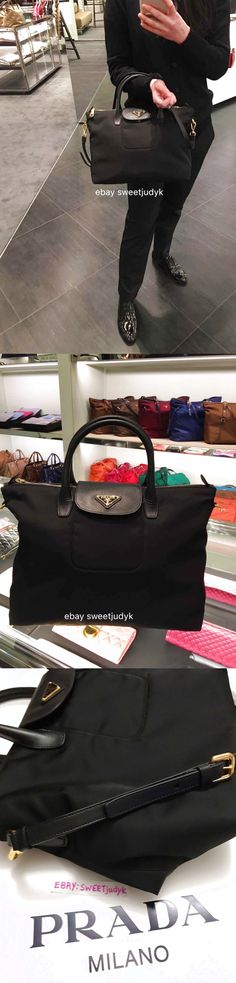 df19c4392685 ... closeout nwt authentic prada women tessuto saffiano nylon tote shoulder  bag black bn2541 899.95 d7dc9 9b6cc