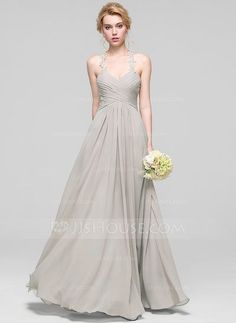 [£ 85.00] A-Line/Princess Sweetheart Floor-Length Chiffon Bridesmaid Dress With Ruffle (007090153)