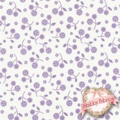 Lakehouse Sweet Things 12157-LAVENDER Mini Cherries By Holly Holderman For Lakehouse: Lakehouse Sweet Things is a collection by Holly Holderman for Lakehouse Dry Goods. This fabric features tiny purple pearlized bouquets tossed on an off-white background.