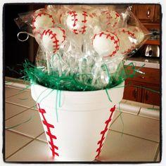 Baseball Cake Pops -use painted flower pot!