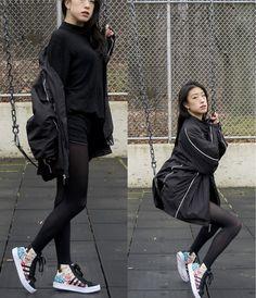 Gillian Shieh - H&M Fine Knit Turtleneck Sweater, Northeastern University Huskies Windbreaker, Forever 21 Lace Shorts, Black Tights, Adidas Courtvantage Mid Shoes - Prismatic