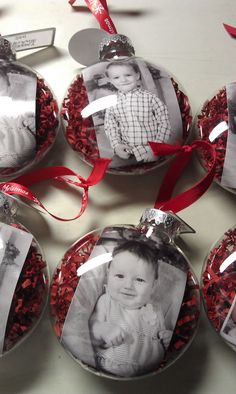 Make baby pic ornaments for each kids first christmas