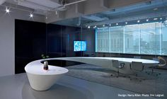 Corian® curved conference table through the glass wall at the DuPont™ Corian® Design Studio in Philadelphia. Contemporary Interior Design, Office Interior Design, Office Interiors, Interior Designing, Commercial Design, Commercial Interiors, Corian Worktops, Counter Design, Kitchen Design