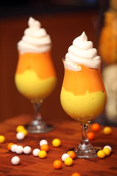 Candy corn pudding cup. Vanilla with food coloring, cool whip. Would be good with butterscotch, too. #halloween