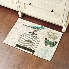 For my newly decorated craft room! Ballard Designs - Whimsy Bird Scatter Rug.