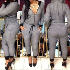 0d6ae176c505 Casual Hooded Self-Tie Long Sleeve Jumpsuit For Women