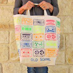 "morena's corner: Stenciled ""Old School"" Neon Tote Bag DIY with #tulipneon Fabric Paint"