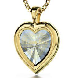Gold Filled Heart Necklace - I Love You Pendant- 120 Languages on Crystal CZ Gem